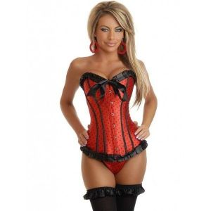 Red polka dot corset with bows. Артикул: IXI19699