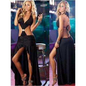 Black dress with shiny panel. Артикул: IXI19855