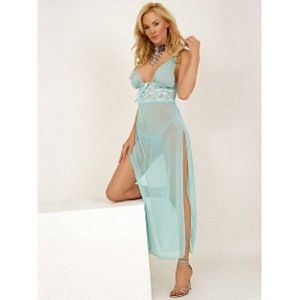 Blue negligee with lace