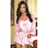 Розовый шелковый халат