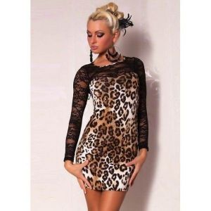 SALE! Clubwear mini dress with leopard print
