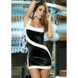 Black and white clubwear mini dress