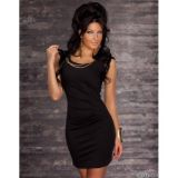The semi-transparent black mini dress with gold chains