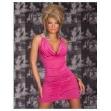 Розовое мини-платье  с блестящими вставками