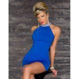Синие мини-платье с блестящим воротником по оптовой цене
