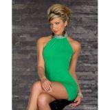 Зеленое мини-платье с блестящим воротником