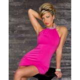 Розовое мини-платье с блестящим воротником