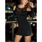 Черное мини-платье с длинными рукавами