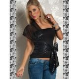 Alluring black top with a bold Cape on the shoulder and belt-bow