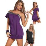 Фиолетовое мини-платье свободного кроя