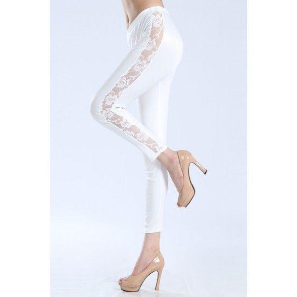 Красивые белые леггинсы с прозрачными вставками по ноге