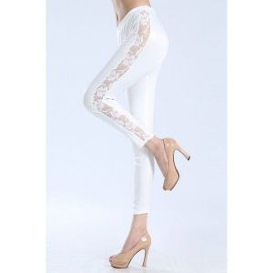 Красивые белые леггинсы с прозрачными вставками по ноге - Леггинсы