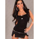Черный секси-топ с мягкими драпировками и украшением по оптовой цене