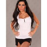 Spectacular white top with a deep rectangular neckline