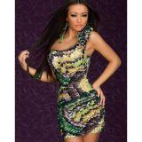 Красивое платье на одно плечо с принтом перьев по оптовой цене