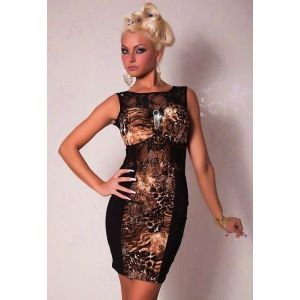 Stylish dress with lace inserts and predatory print