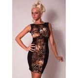 Стильное платье с кружевными вставками и хищным принтом по оптовой цене
