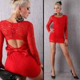 Lace dress mini long sleeve