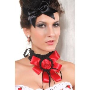 Stylish decoration in a red bow with a rose