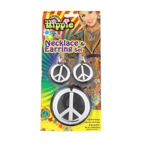 Stylish set of jewelry silver - peace signs