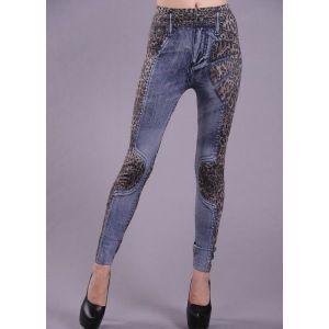 Леггинсы, стилизованные под джинсы с леопардовой шкурой - Леггинсы