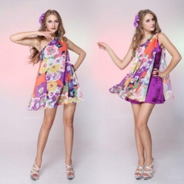 РАСПРОДАЖА! Цветочное платьеце на одно плече