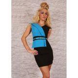 Черно-голубое мини-платье