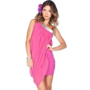 Pink mini dress with silver dekrom