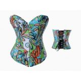 Blue corset with fashionable print