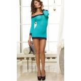 Бирюзовое мини-платье с кружевной отделкой цена фото