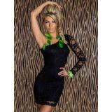 Черное кружевное платье с одним рукавом по оптовой цене