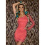 Нежно-розовое кружевное платье с одним рукавом по оптовой цене