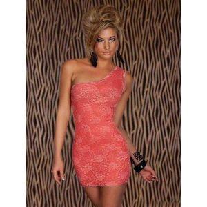 Sexy pink mini dress one shoulder. Артикул: IXI21317