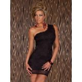 Lace mini dress one shoulder black