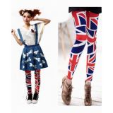 Long leggings with flag print