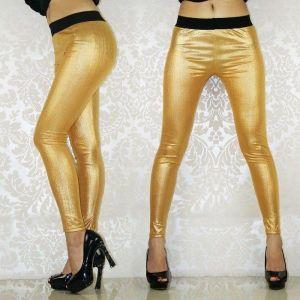 Золотистые леггинсы под кожу - Леггинсы