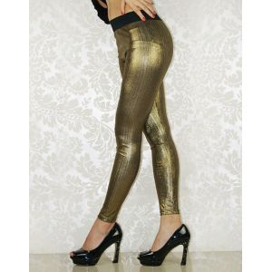 Gold leggings with black waist band
