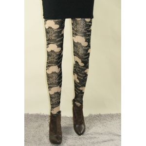 Stylish leggings with inscriptions and drawings