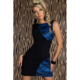 Black and blue lace sheath mini