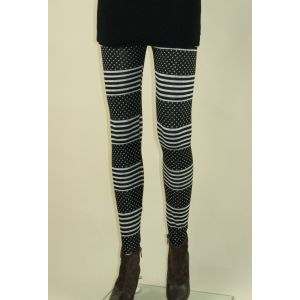 Black leggings speckled with stripes