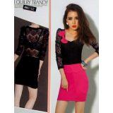 Розовое  мини-платье с кружевными рукавами по оптовой цене