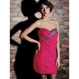 Ярко-розовое мини-платье с горным хрусталем