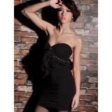 Черного мини-платье с рюшами