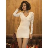 White mini pantie with lace sleeves