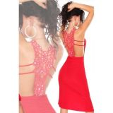 Red evening dress with asymmetrical knee length skirt