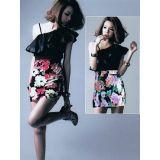 Мини-платье с крупным цветочным принтом по оптовой цене