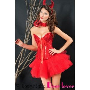 Corset with ribbon, devil