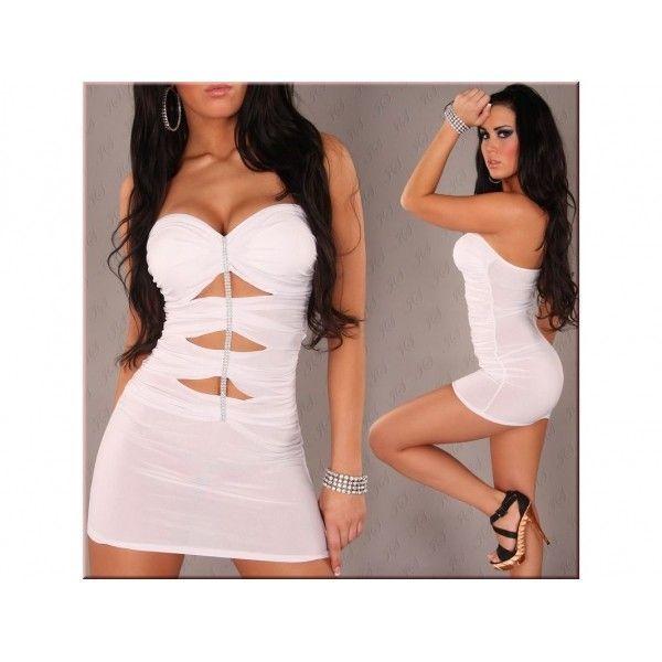 Купить онлайн Белое мини-платье с золотом фото цена акция распродажа