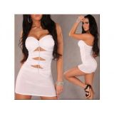 White bodycon dress mini with cut out front
