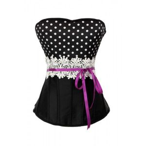 Black classic polka dot corset with lace and ribbon